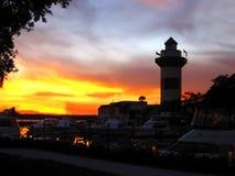 Hilton Head island lighthouse. Evening scene royalty free stock photography