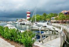 Beautiful Lighthouse  at the Harbour Town Marina. Hilton Head Island, South Carolina,USA-Augus,25,2018. Beautiful view of The Harbour Town Lighthouse  at the royalty free stock photo