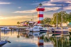 Hilton Head South Carolina. Hilton Head, South Carolina, lighthouse at dusk Stock Photos