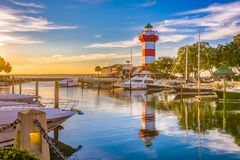Hilton Head, South Carolina. Lighthouse at dusk stock photography