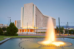 Hilton hotel in Athens. Fountain in front of hotel Hilton in Evangelismos in central Athens Stock Photography