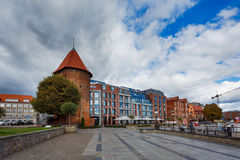 Hilton hotel, Gdansk. Gdansk, Poland - October 04 2016: View of the Hilton hotel in old city of Gdansk, autumn time royalty free stock photography