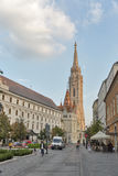 Hilton Hotel and Matthias church in Budapest castle district, Hungary. Stock Images