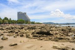 The Hilton Hotel from the rocky beach. Hua Hin, Thailand - July 13th 2010: The Hilton Hotel from the rocky beach. The hotel is part of an international chain royalty free stock photos