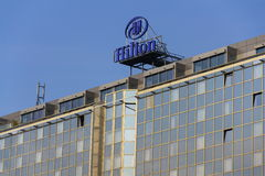 Hilton hotels and resorts logo on the building of Hilton Prague hotel Stock Photos