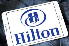Hilton logo. Logo of hotels chain hilton on samsung tablet Stock Images