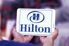 Hilton logo. Logo of hotels chain hilton on samsung tablet Stock Photo