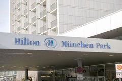 Hilton München Park. Sign above the entrance to the Hilton Munich Park right next to the Englischer Garten with copy space Stock Photography