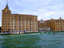 Hilton Molino Stucky is a luxurious Venetian hotel housed in a restored mill flour grinding plant on the shore of the island of. Giudecca. July 2018 year royalty free stock images
