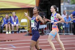 HIMA DAS India win gold medal in 400 metrs on the IAAF World U20 Championship in Tampere, Finland 12th July, 2018. TAMPERE, FINLAND, July 12: HIMA DAS India win Royalty Free Stock Photography