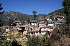 Himachal mountain village. Himachal  Mountain village and habitat nestled deep in the hinterland of the Indian Himalayas Royalty Free Stock Images