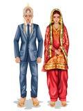 Himachali brölloppar i traditionell dräkt av Himachal Pradesh, Indien vektor illustrationer