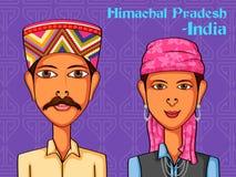 Himachali par i traditionell dräkt av Himachal Pradesh, Indien stock illustrationer