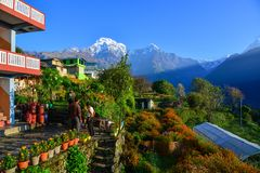 Himalaja-Berge, Ansicht von Ghandruk, Nepal Stockfotos