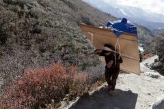 Himalaja, Nepal cirka im November 2017: Wanderer und Träger auf dem Weg zu niedrigem Lager Everest, zum schönen sonnigen Wetter u Lizenzfreies Stockfoto