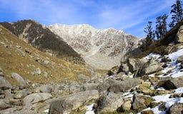 Himalajaberge mit Schneespitzen und -wäldern stockfotografie