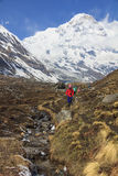 Himalaya Annapurna base camp trekking trail, Nepal. Himalaya Annapurna base camp trekking trail with tourists nearby a river. It is a very famous trekking route royalty free stock image