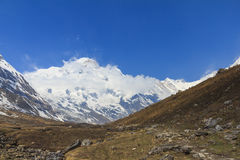Himalaya Annapurna mountain range and blue sky, Nepal royalty free stock images