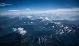 Himalaya bird's eyes view. From window of plane royalty free stock images