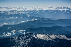 Himalaya bird's eyes view. From window of plane royalty free stock photos