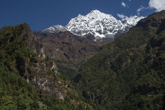 Himalaya. CHHEPLUNG, NEPAL - CIRCA OCTOBER 2013: view of the Himalayas in the way of Chheplung to Namche Bazar circa October 2013 in Chheplung Stock Image