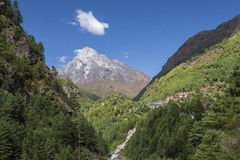 Himalaya. CHHEPLUNG, NEPAL - CIRCA OCTOBER 2013: view of the Himalayas in the way of Chheplung to Namche Bazar circa October 2013 in Chheplung Stock Photography