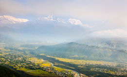 Himalaya and City from Sarangkhot Royalty Free Stock Photography