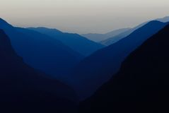 Himalaya dusk. Nepal, Sagarmatha area Royalty Free Stock Photo