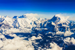 Himalaya Everest range view from mountain flight Royalty Free Stock Photo