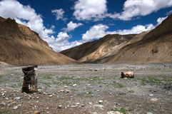 Himalaya Landscape & Oil Drums Royalty Free Stock Photography