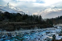 Himalaya landscape. A picture from fishtail mountain in the Annapurna mountain range with the Seti river in the foreground Stock Photography