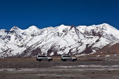 Himalaya mountain landscape and China National Highway in Tibet Royalty Free Stock Image