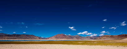 Himalaya mountain landscape with salt lake Tso Kar Stock Photos