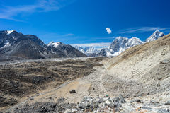 Himalaya mountain landscape and trail to Everest base camp, Nepa Royalty Free Stock Photography