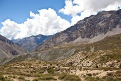 Himalaya mountain landscape in Upper Mustang Royalty Free Stock Photo