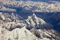 Himalaya mountain- nepal. Aerial view of the himalaya mountain range royalty free stock photography