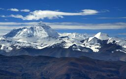 Himalaya mountain ranges from the road. Himalaya mountain ranges viewed from the road to mount everest base camp Stock Photo