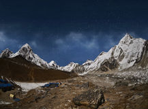 Himalaya mountain with star in night time Royalty Free Stock Photo