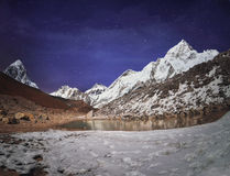 Himalaya mountain with star in night time Royalty Free Stock Photos