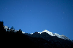 Himalaya mountain with stars. In night time Royalty Free Stock Photography