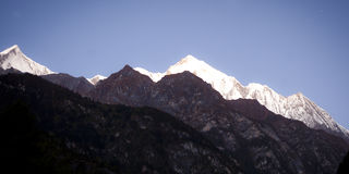 Himalaya mountain with stars. In night time Royalty Free Stock Images