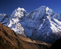 Himalaya Mountains. Giant mountains in the Himalaya dwarf a tiny village along the Everest Basecamp hiking trail Stock Photography