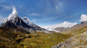 Himalaya Mountains Landscape Nepal. Beautiful alpine scenery in the Himalaya, panorama, Nepal stock photography