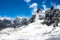 Himalaya mountains, Nepal. Beautiful snow landscape. Way to mount Everest base camp, khumbu valley - Nepal royalty free stock photos