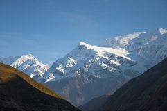 Himalaya mountains. Sunny day view in Nepal Himalaya mountain, view of majestic mountain Annapurna royalty free stock photos