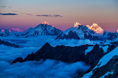Himalaya mountains at sunset Stock Photos