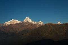 Himalaya Mountains View from Poon Hill 3210m in full day Stock Photos
