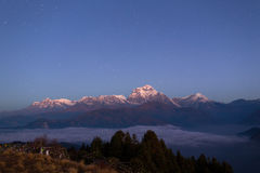 Himalaya Mountains View from Poon Hill 3210m at night with stars Royalty Free Stock Photos