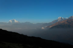 Himalaya Mountains View from Poon Hill 3210m at sunset Stock Images