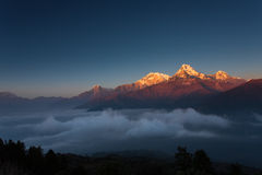 Himalaya Mountains View from Poon Hill 3210m at sunset Royalty Free Stock Image